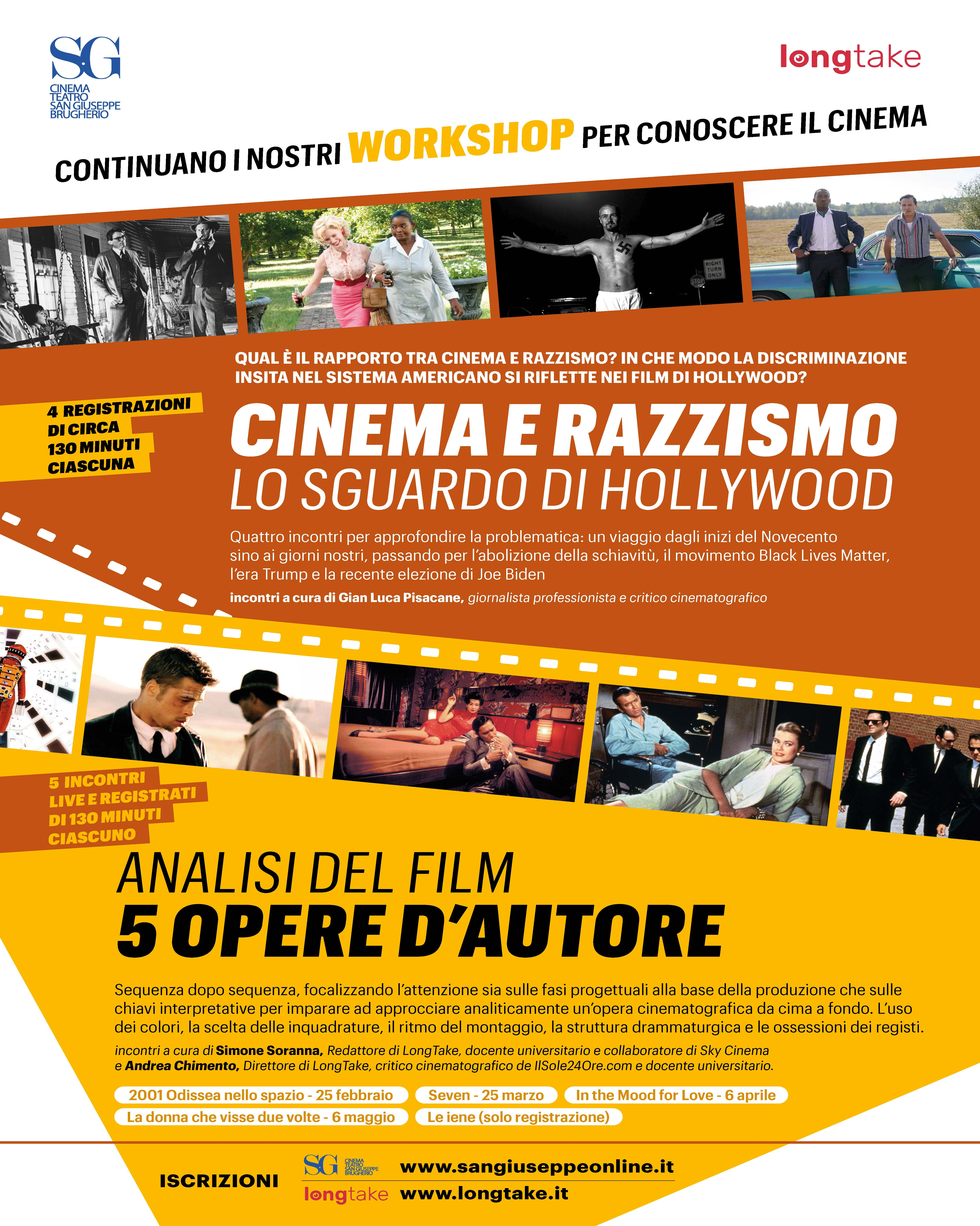 "Proseguono i workshop live streaming sul cinema a cura di LongTake: ""Cinema e razzismo: lo sguardo di Hollywood""  e  ""Analisi del film: cinque opere d'autore"""